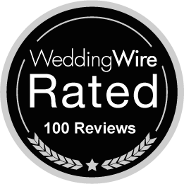 WeddingWire Rated Black badge for 100+ Reviews for Artz Music & Photography