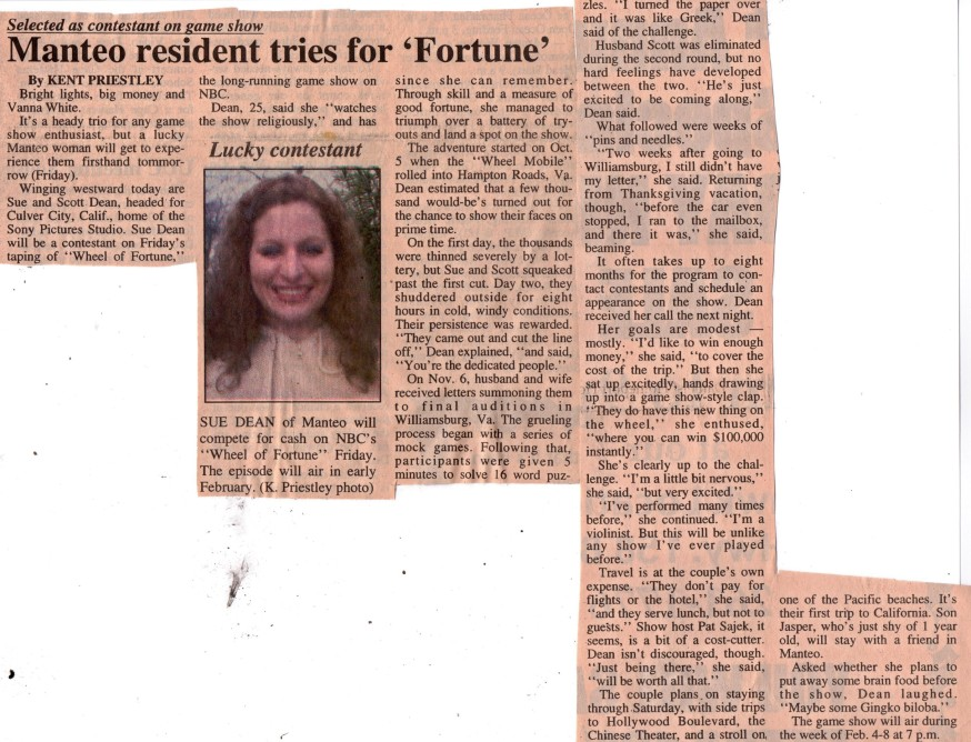 Article from 'The Coastland Times' newspaper announcing Sue Artz as a contestant on 'Wheel of Fortune'.