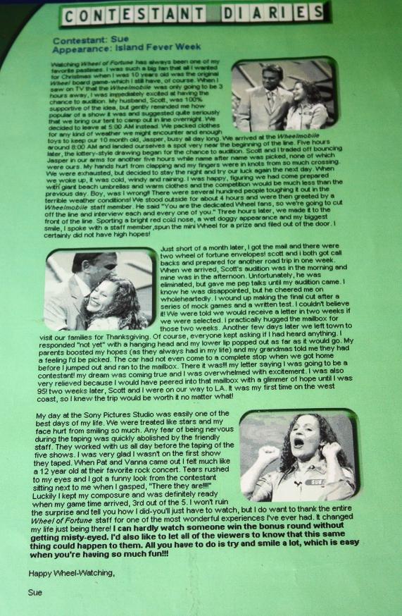 'Wheel of Fortune' Contestant Diary by Sue Artz.